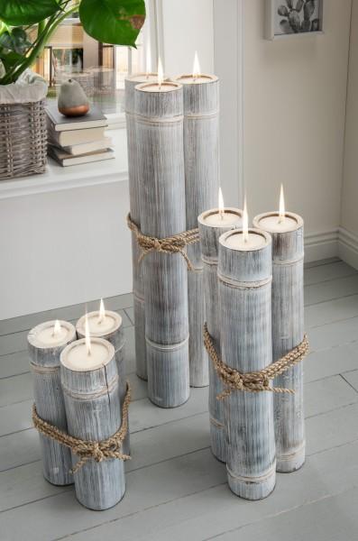 Kerzen XXL in Bambussäulen 9er-Set